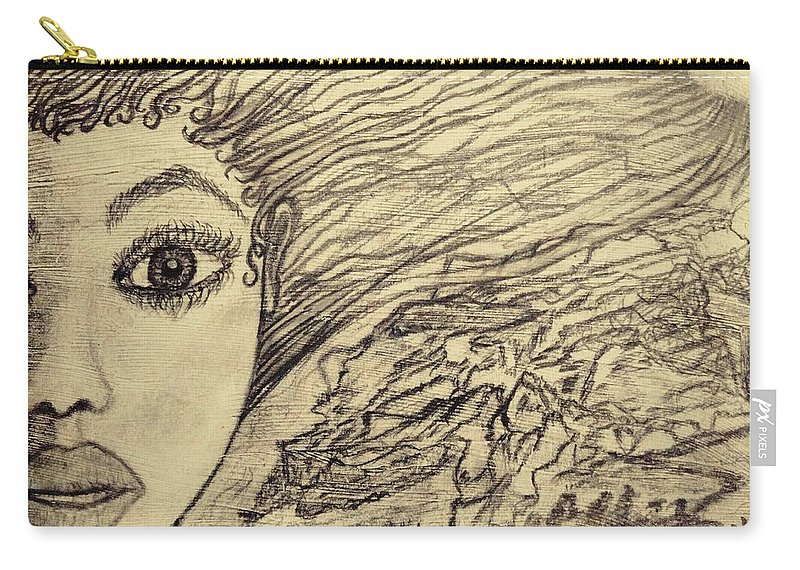 Drawing Carry-all Pouch featuring the drawing Unpainted by Jennie Ragans