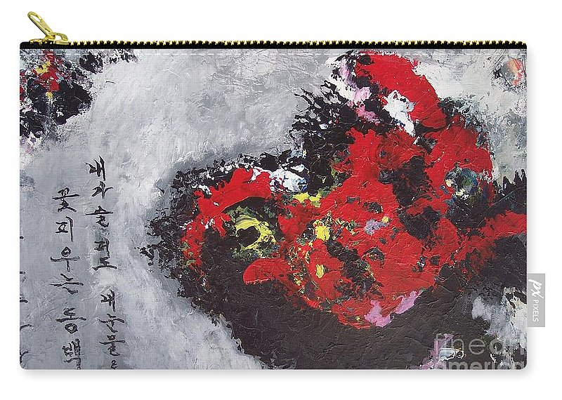 Poetry Paintings Carry-all Pouch featuring the painting Unread Poem Black And Red Paintings by Seon-Jeong Kim