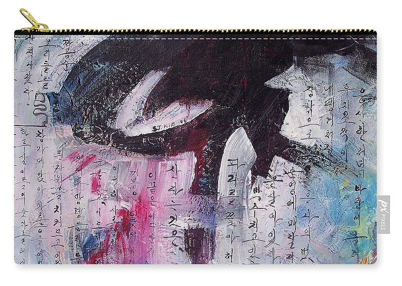 Peom Paintings Paintings Carry-all Pouch featuring the painting Unread Poem Black And White Paintings by Seon-Jeong Kim
