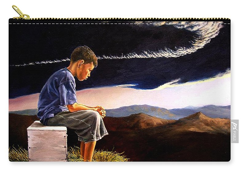 Mountain Carry-all Pouch featuring the painting Unscarred Mountain by Christopher Shellhammer