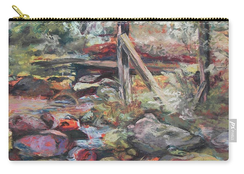 Landscape Carry-all Pouch featuring the pastel Unseated On Trout Brook by Alicia Drakiotes