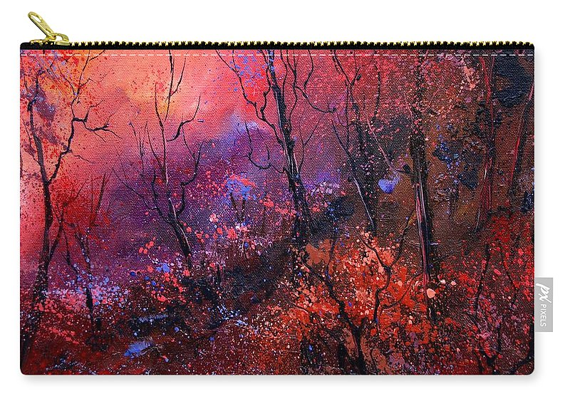 Wood Sunset Tree Carry-all Pouch featuring the painting Unset In The Wood by Pol Ledent