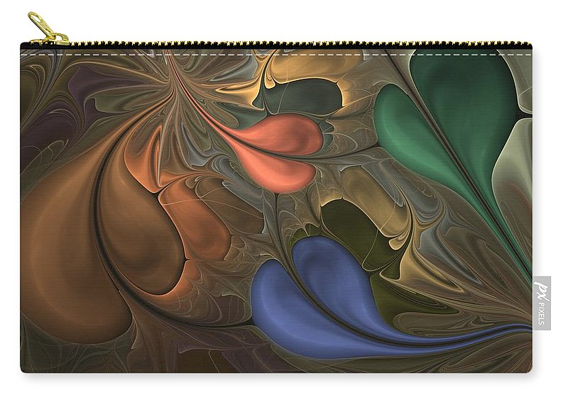 Digital Painting Carry-all Pouch featuring the digital art Untitled 1-26-10 Greens And Red by David Lane