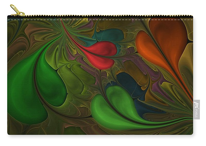 Digital Painting Carry-all Pouch featuring the digital art Untitled 1-26-10 Orang And Green by David Lane
