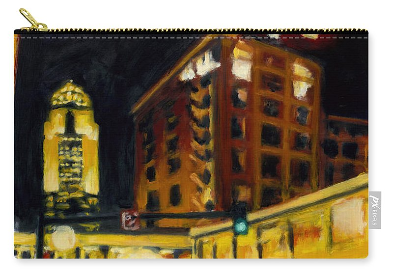 Rob Reeves Carry-all Pouch featuring the painting Untitled In Red And Gold by Robert Reeves
