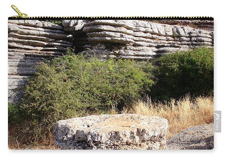 Limestone Carry-all Pouch featuring the photograph Unusual Rock Formations In The El Torcal Mountains Near Antequera Spain by Mal Bray