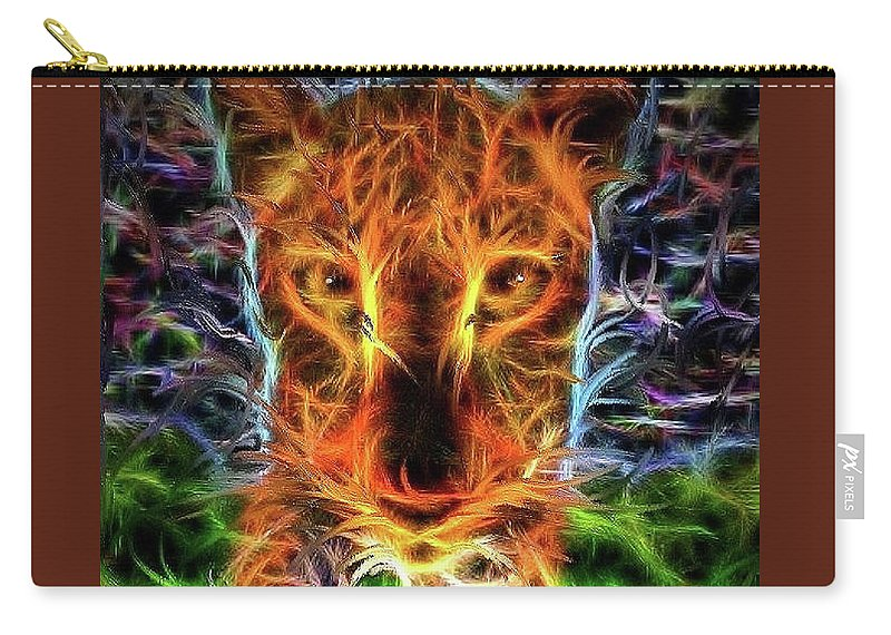 Tiger Carry-all Pouch featuring the digital art Up Close by Alex Thomas