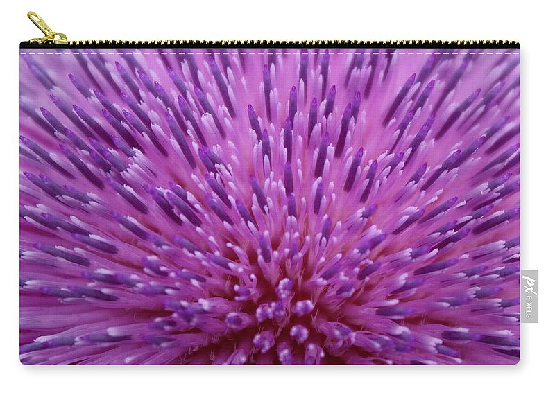 Photograph Carry-all Pouch featuring the photograph Up Close On Musk Thistle Bloom by Mandy Elliott
