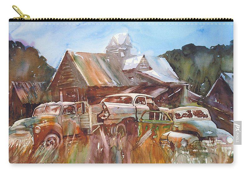Chev Plymouth House Barn Carry-all Pouch featuring the painting Up the Road a Bit by Ron Morrison