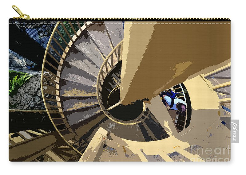 Spiral Staircase Carry-all Pouch featuring the painting Up The Spiral Staircase by David Lee Thompson