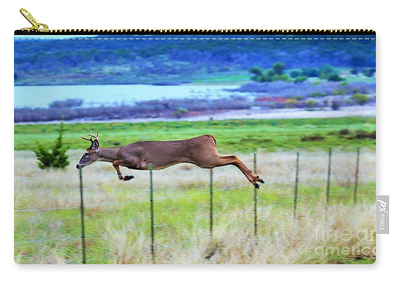 Landscape.deer.deer Jumping Fence.buck Deer Carry-all Pouch featuring the photograph Up Up And Away by Jeff Downs