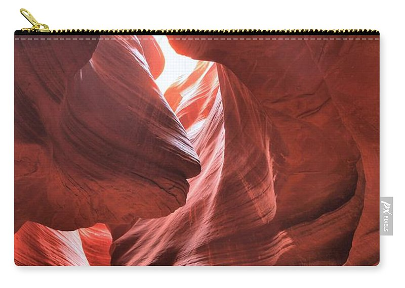 Upper Antelope Canyon Carry-all Pouch featuring the photograph Upper Antelope Lights by Adam Jewell