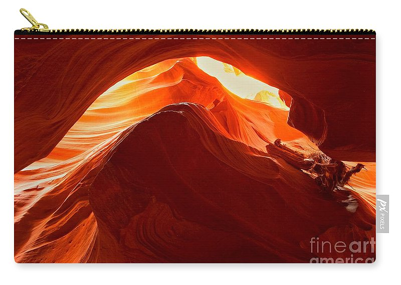 Upper Antelope Canyon Carry-all Pouch featuring the photograph Upper Antelope Sunlit Layers by Adam Jewell