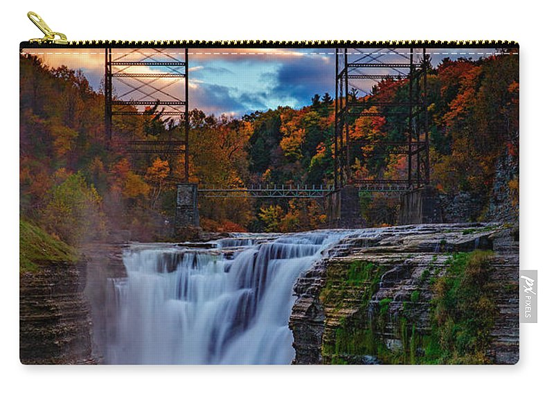 Autumn Carry-all Pouch featuring the photograph Upper Falls Letchworth State Park by Rick Berk