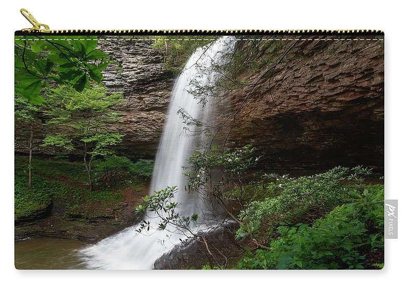 Upper Piney Falls Carry-all Pouch featuring the photograph Upper Piney Falls by Chris Berrier