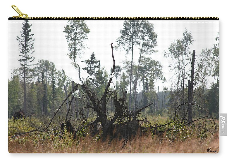 Roots Tree Stump Hawk Bird Wild Forest Nature Feeling Abstract Carry-all Pouch featuring the photograph Uprooted by Andrea Lawrence