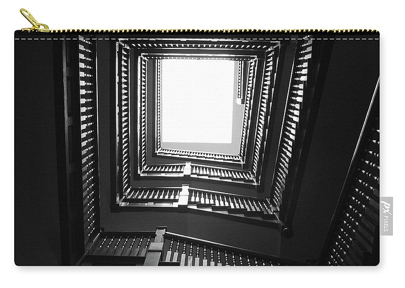Stairs Carry-all Pouch featuring the photograph Upstairs- Black And White Photography By Linda Woods by Linda Woods