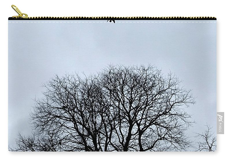 Crow. Bird. Trees. Woods. Woodland. Flying. Carry-all Pouch featuring the photograph Upwards by Nicholas Rainsford