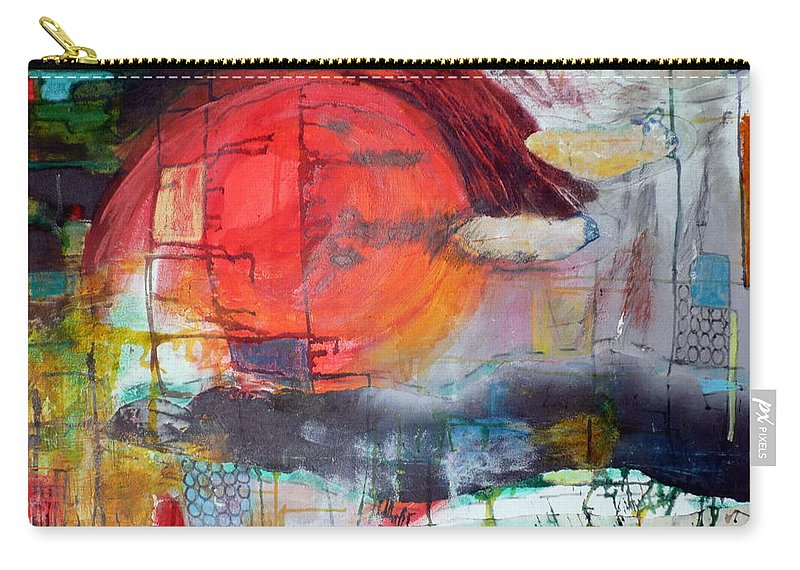 Abstract Landscape Carry-all Pouch featuring the mixed media Urban Myth by Jane Clatworthy