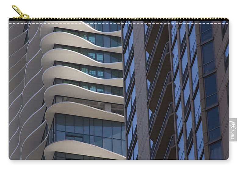 Chicago City Wind Windy Sky Skyscraper Window Concrete Glass Tall High Urban Metro Carry-all Pouch featuring the photograph Urban Patters by Andrei Shliakhau