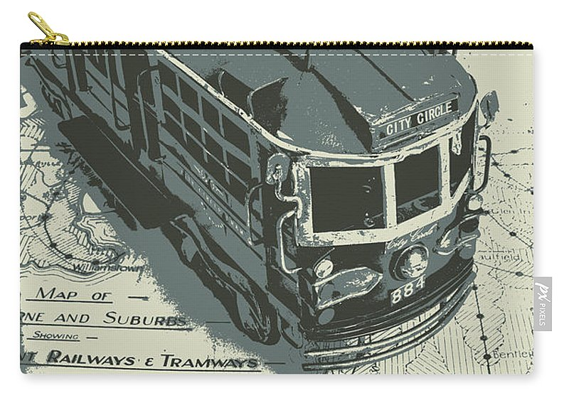 Tram Carry-all Pouch featuring the photograph Urban Trams And Old Maps by Jorgo Photography - Wall Art Gallery