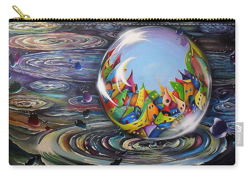 Urbe In Orbem. Acrylic Painting About A City In An Orb Or In A Waterbubble. The Painting Is Very Colourful Especially The City. Allthough I Didn't Use Red In The Water. In The Back You See Another Drop With A City In It Splashing Out Of The Water Like The Big Bubble Has Got A Little Child. 160x140cm. By Lia Van Elffenbrinck. This Very Big Painting Was Made For An Exhibition In De Fundatie Carry-all Pouch featuring the painting Urbe In Orbem by Lia Van Elffenbrinck