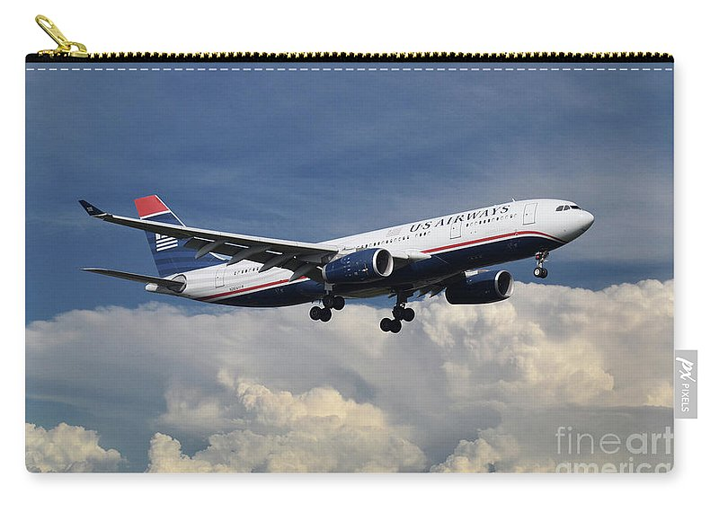 A330 Carry-all Pouch featuring the digital art Us Airways A330-200 N280ay by J Biggadike