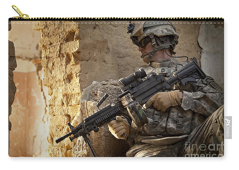 Special Operations Forces Carry-all Pouch featuring the photograph U.s. Army Ranger In Afghanistan Combat by Tom Weber