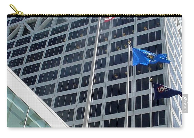 Us Bank Carry-all Pouch featuring the photograph US Bank with flags by Anita Burgermeister