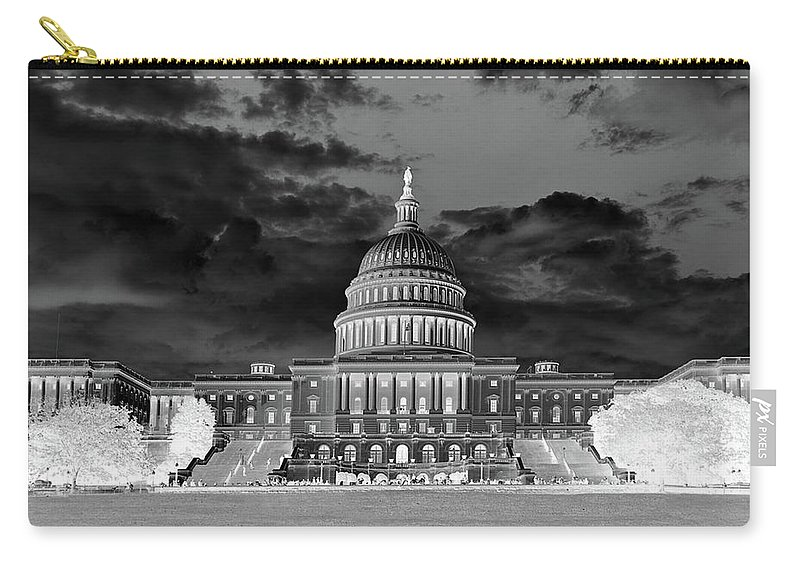 Congress Carry-all Pouch featuring the photograph Us Capitol Washington Dc Negative by Kimberly Blom-Roemer