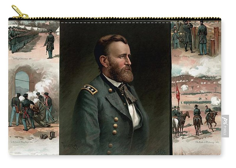 President Grant Carry-all Pouch featuring the painting Us Grant's Career In Pictures by War Is Hell Store