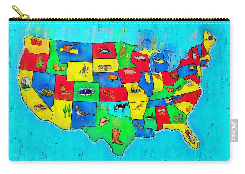 Us Carry-all Pouch featuring the digital art Us Map With Theme - Free Style - - Da by Leonardo Digenio