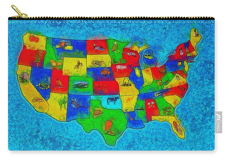 Us Carry-all Pouch featuring the digital art Us Map With Theme - Special Finishing - - Da by Leonardo Digenio