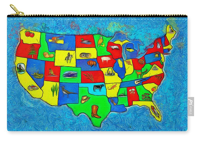 Us Carry-all Pouch featuring the digital art Us Map With Theme - Van Gogh Style - - Da by Leonardo Digenio