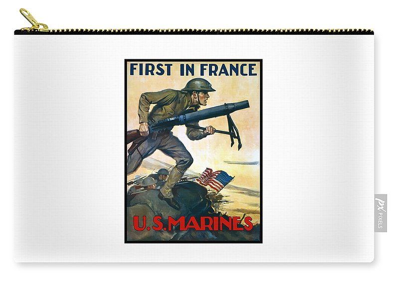 Marines Carry-all Pouch featuring the painting Us Marines - First In France by War Is Hell Store