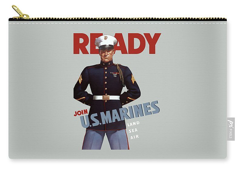 Marine Recruiting Carry-all Pouch featuring the painting US Marines - Ready by War Is Hell Store