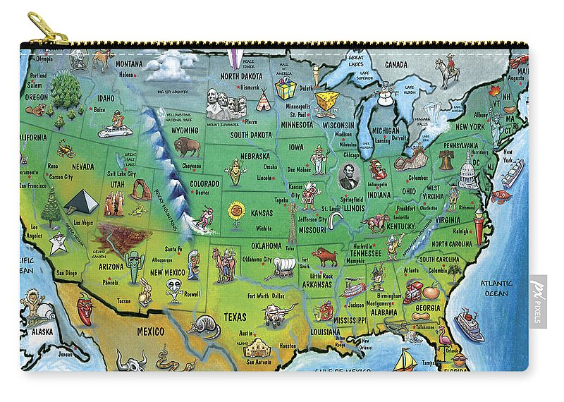 Map Carry-all Pouch featuring the painting Usa Cartoon Map by Kevin Middleton