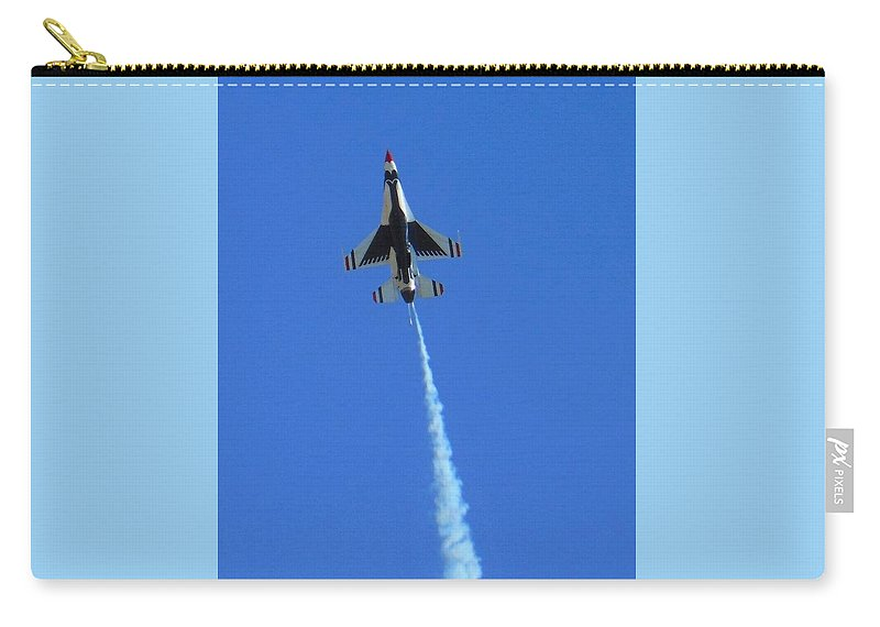 Aircraft Carry-all Pouch featuring the photograph Usaf Thunderbird by Carl Miller