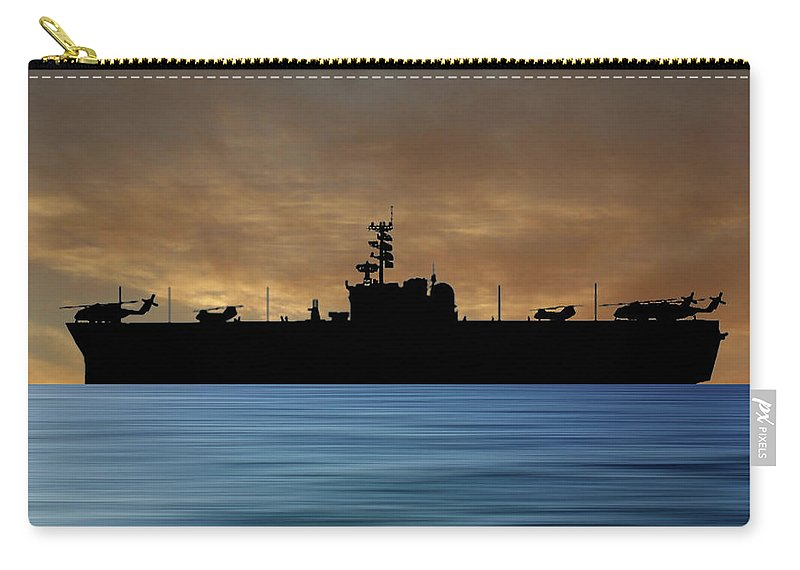 Uss Okinawa Carry-all Pouch featuring the photograph Uss Okinawa 1960 V2 by Smart Aviation