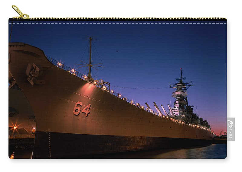 Uss Wisconsin Carry-all Pouch featuring the photograph Uss Wisconsin Sunset by John Daly