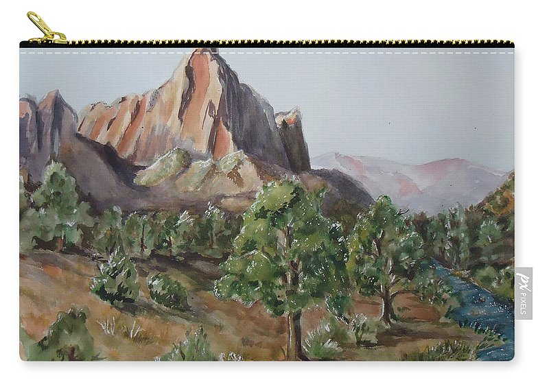 Mountain Carry-all Pouch featuring the painting Utah Valley by Charme Curtin