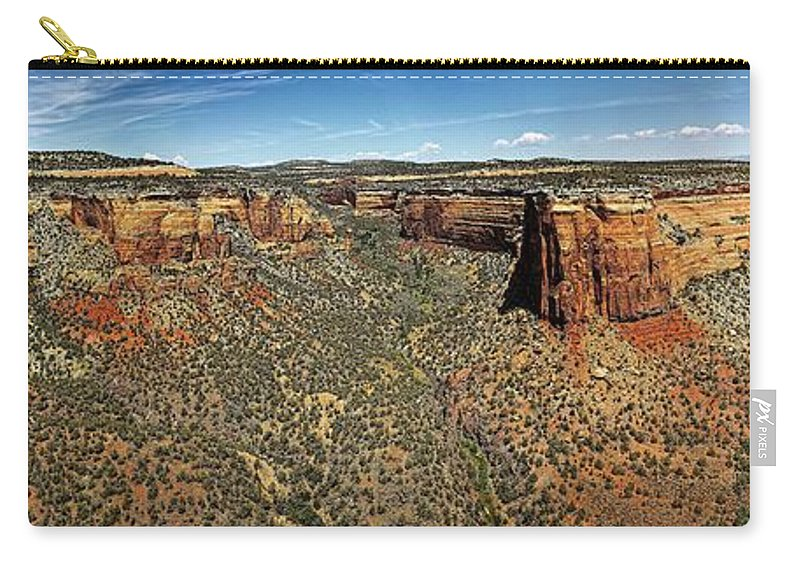 Ute Canyon Carry-all Pouch featuring the photograph Ute Canyon Panorama by Jon Burch Photography