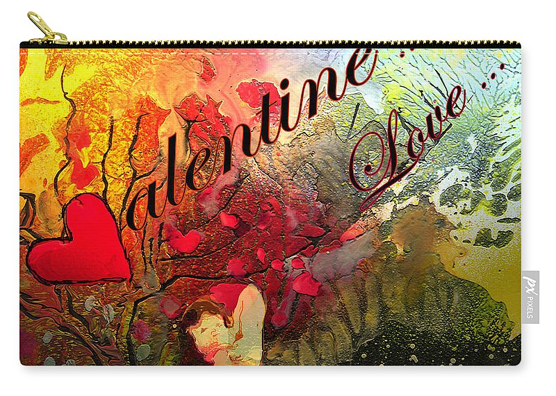 Valentine Carry-all Pouch featuring the painting Valentine by Miki De Goodaboom