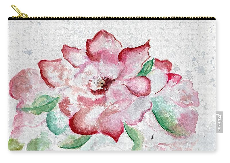 Watercolor Carry-all Pouch featuring the painting Valentine Rose by Brenda Owen