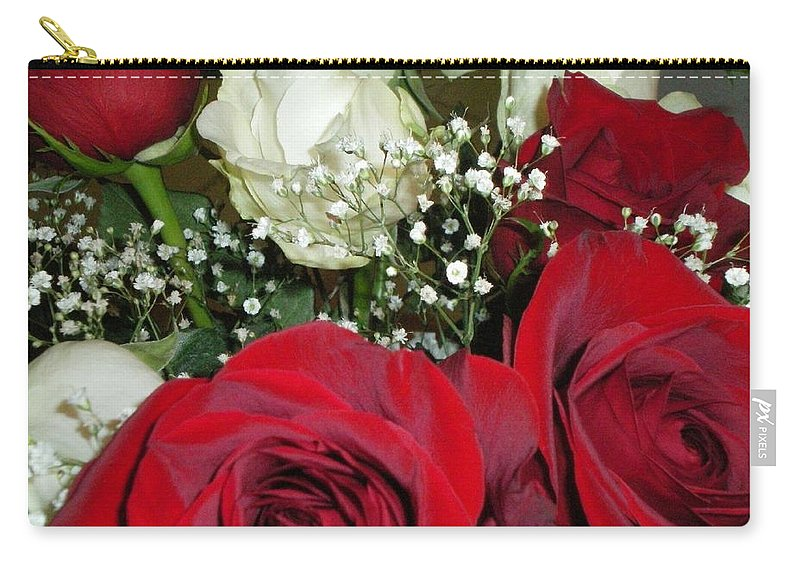Red Carry-all Pouch featuring the photograph Valentine Roses by Lauren Powell