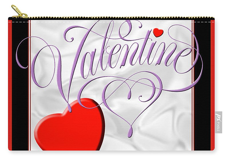 Valentine Card Carry-all Pouch featuring the digital art Valentine Script by Melissa A Benson