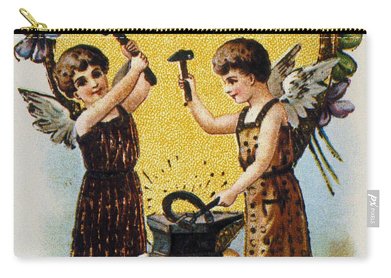 1900 Carry-all Pouch featuring the photograph Valentines Day Card, 1900 by Granger