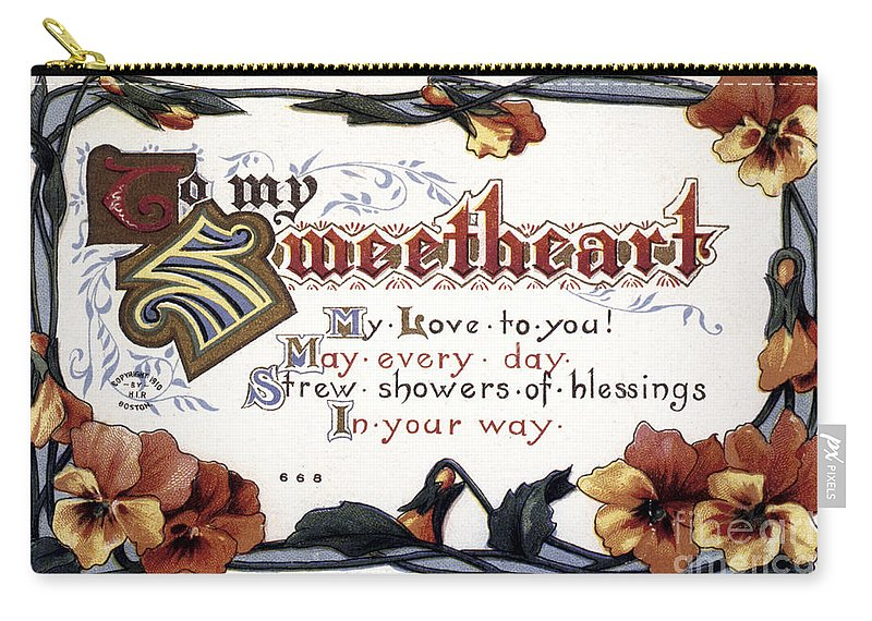 1910 Carry-all Pouch featuring the photograph Valentines Day Card, 1910 by Granger