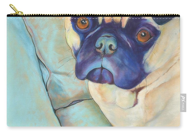 Pug Carry-all Pouch featuring the pastel Valentino by Pat Saunders-White