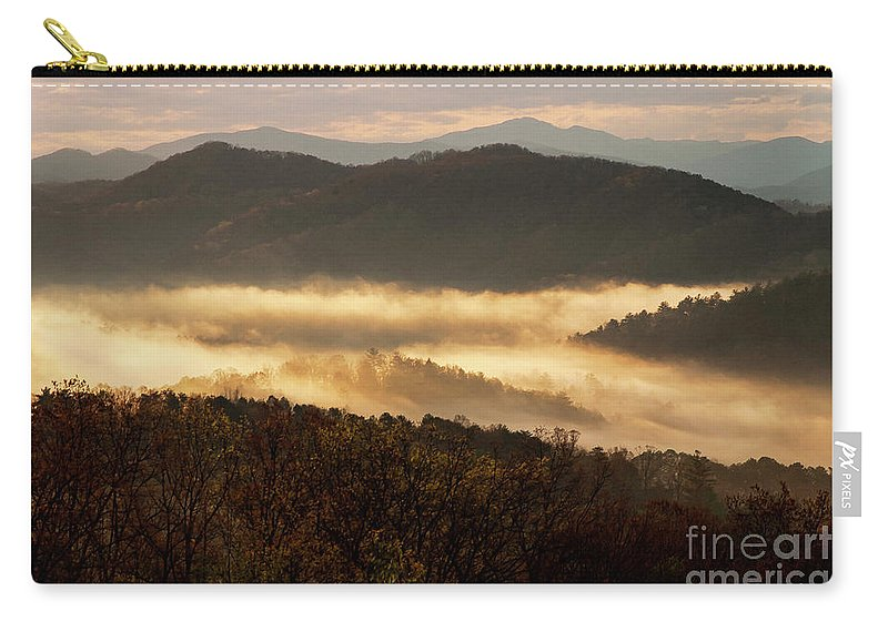Foothills Parkway Carry-all Pouch featuring the photograph Valley Fog At Sunrise Two by Bob Phillips